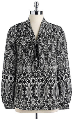 Anne Klein Long-Sleeved Tribal Diamond Printed Blouse