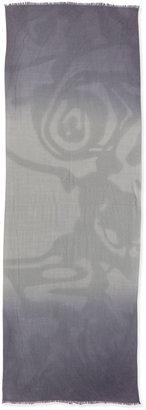 Neiman Marcus Dip-Dye Dotted Wool Wrap, Gray