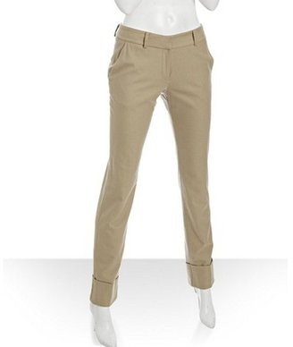 Intermix EXCLUSIVE for camel wool cuffs tapered pants