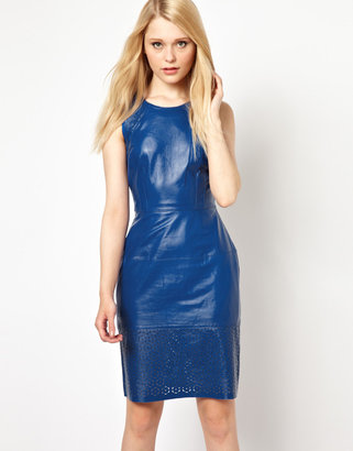 French Connection Leather Laser Cut Dress