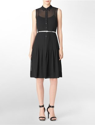 Calvin Klein Pleated Belted Sleeveless Shirt Dress