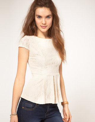 A/Wear A Wear Lace Shell Top With Peplum