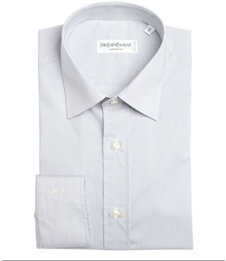 Yves Saint Laurent grey and white cotton micro stripe point collar dress shirt