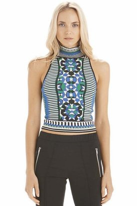 Torn By Ronny Kobo Mosaic Jacquard Mali Top in Greco