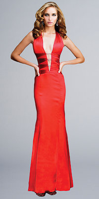 La Femme Sexy Plunging Neckline Gowns