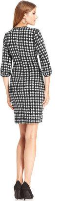 Amy Byer Dress, Three-Quarter-Sleeve Printed Faux-Wrap