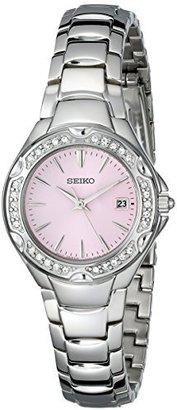 Seiko Women's SXDC53 Crystal Sporty Dress Pink Dial Watch $84.42 thestylecure.com
