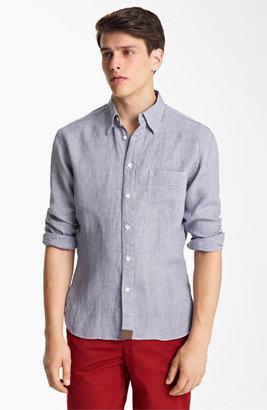 Billy Reid 'Walland' Linen Shirt Blue XX-Large