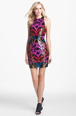 Nicole Miller Embroidered Trim Sequin Sheath Dress