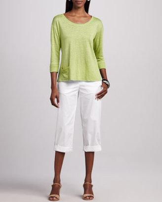 Eileen Fisher Cuffed Twill Capri Pants, Petite