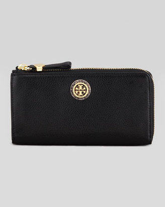 Tory Burch Clay Continental Zip Wallet, Black