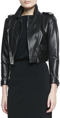 Burberry Cropped Leather Long-Sleeve Moto Jacket