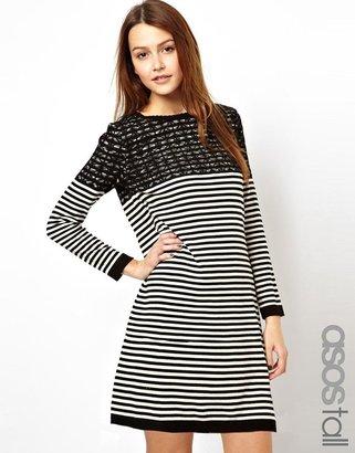 Asos TALL Breton Stripe Swing Dress In Knit