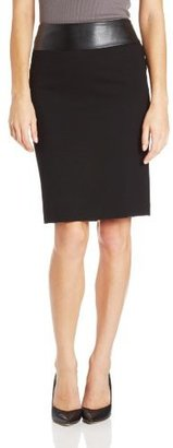 Chaus Women's Pencil Skirt With Faux-Leather Waistband