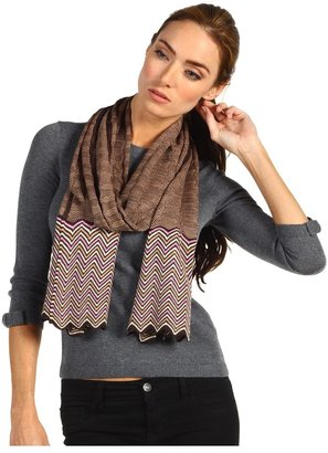 Missoni Capricious Checks ZigZag Scarf (Brown/Pink) - Accessories