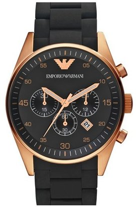 Emporio Armani Rose Gold Plated Silicone Strap Watch, 43mm
