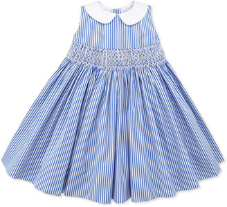 Ralph Lauren Bengal-Stripe Smocked Dress, Blue, 9-24 Months