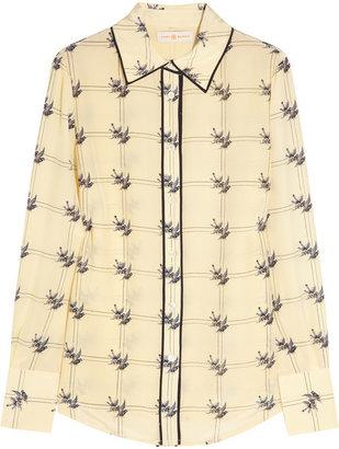 Tory Burch Harriet sparrow-print silk crepe de chine shirt