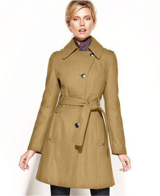 Kenneth Cole Reaction Kenneth Cole Wool-Blend Belted Asymmetrical Trench Coat