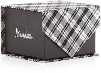 Neiman Marcus Plaid Silk Tie in Box, Black