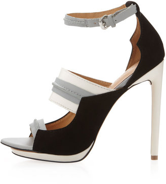 L.A.M.B. Jane Ankle-Strap Pump, Gray/White/Black