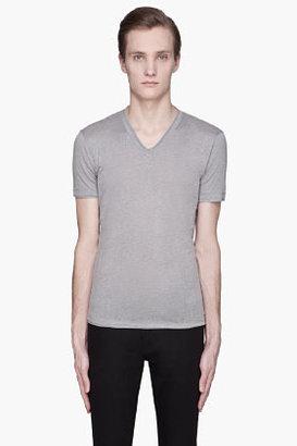 John Varvatos Grey linen raw hem jersey t-shirt