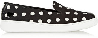Hogan Katie Grand Loves Leather-appliquéd polka-dot canvas slip-on sneakers