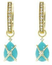 Jude Frances Wrapped Pear Turquoise Earring Charms - Yellow Gold
