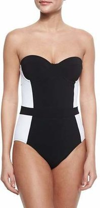 Tory Burch Lipsi Two-Tone One-Piece Swimsuit $225 thestylecure.com