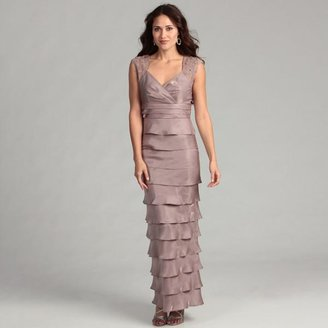 Jessica Howard Women's Taupe Lace Tiered Gown $51.74 thestylecure.com