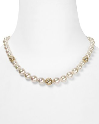 """Majorica Man-Made Pearl Strand Necklace with Gold Ball Stations, 16"""""""