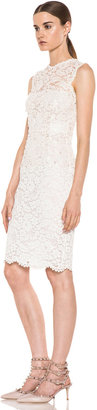 Valentino Rebrode Lace Sleeveless Embroidered Dress in Ivory