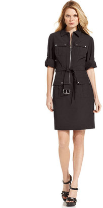 MICHAEL Michael Kors Rolled Sleeve Zip-Front Dress
