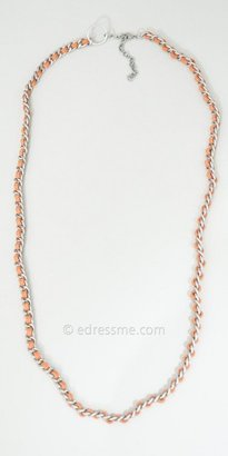 eDressMe One Size Orange Suede and Metal Necklace