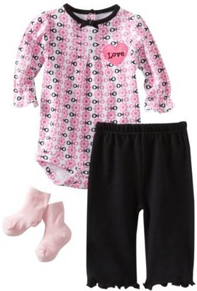 Bon Bebe Baby-girls Newborn 3 Piece Pant Set With Heart Shaped Satin Applique