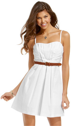 Amy Byer Juniors Dress, Sleeveless Belted A-Line
