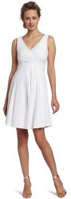 Nine West Dresses Women's Eyelet Crossover Bodice Full Skirt Dress