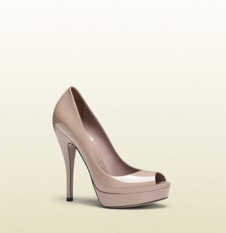 Gucci Light Pink Patent Leather Platform Peep-Toe Pump