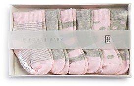 Elegant Baby Girls' Classic Pink Socks, 6 Pack - Baby