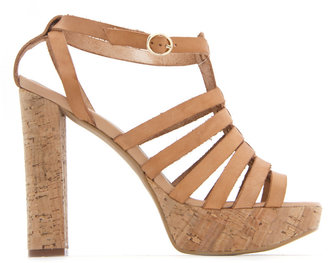MANGO TOUCH - Leather strap sandal