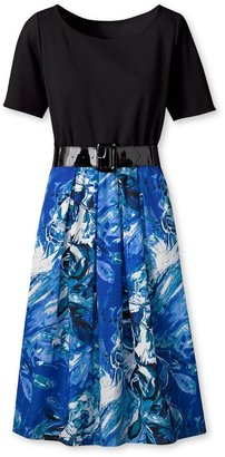 Coldwater Creek Knit and woven print dress