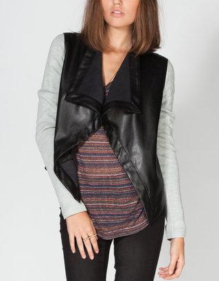 BB Dakota French Terry Sleeve Womens Faux Leather Blazer