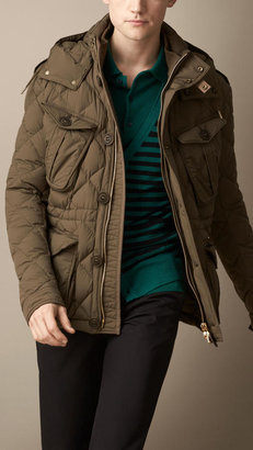 Burberry Down-Filled Field Jacket with Removable Hood