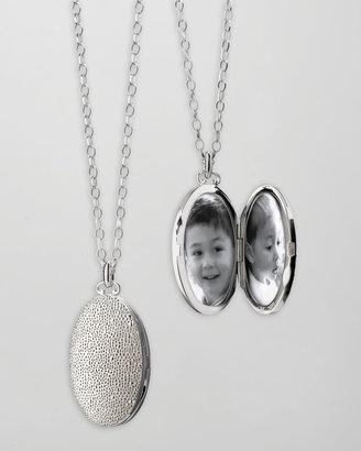 Monica Rich Kosann Oval Sand-Patterned Locket Necklace