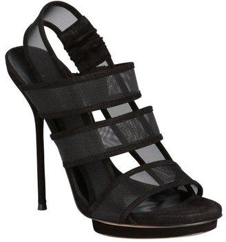 Gucci black suede mesh 'Bette' platform sandals