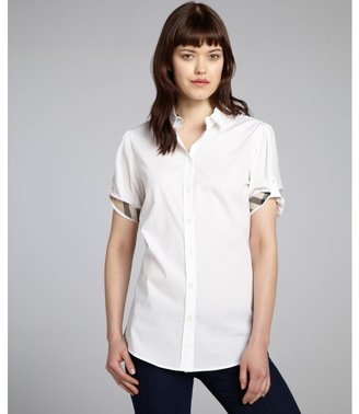 Burberry white stretch cotton button front blouse