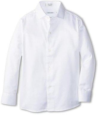 Calvin Klein Kids Sateen Shirt (Little Kids) (White) Boy's Long Sleeve Button Up
