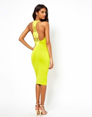 Asos Midi Body-Conscious With Lace Trim Back