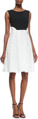 Mantu Sleeveless Lace-Skirted Dress, Black/White