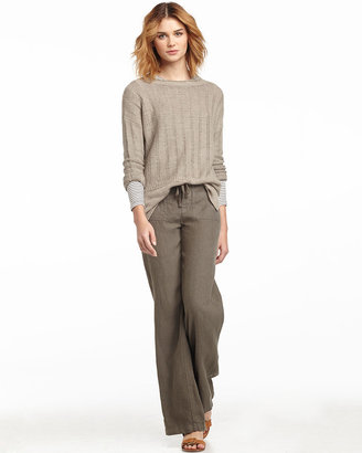 Vince Wide-Leg Linen Beach Pants, Sage